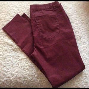 Bisou bisou burgundy skinny jeans size 14